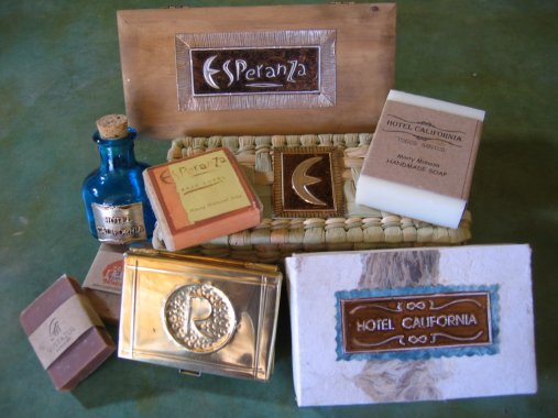 Display of some customized soap labels, lotion bottles, and gift packs available.