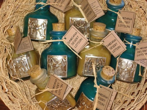 Damian Desert Lotion in beautiful blown glass bottles.