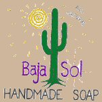 The Baja Sol logo with a cactus and the sun. Baja Sol handmade soap.